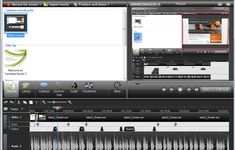 Camtasia Studio video recording and editing software