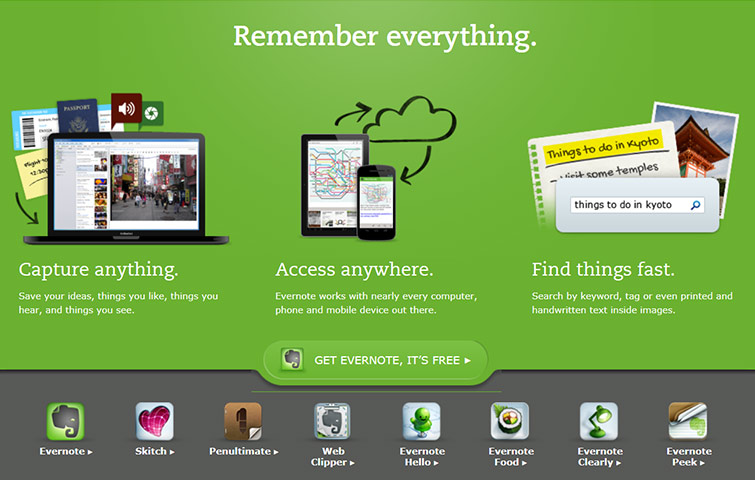 Evernote note & bookmark saving service available for web, mobile & tablet