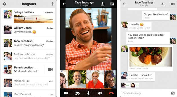 Google Hangouts welcome screen with video, call, message options