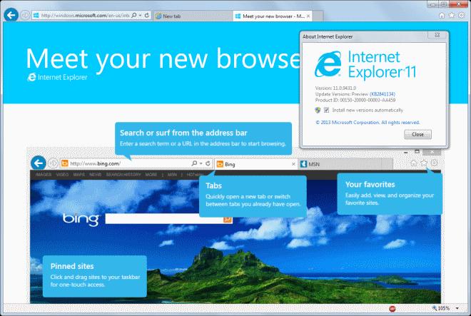 Internet Explorer 11 start page