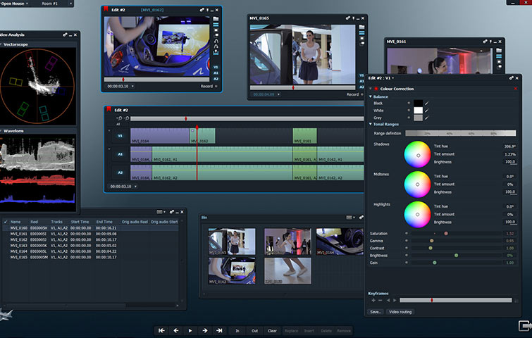 Lightworks non-linear video editing software showing editing footage clips