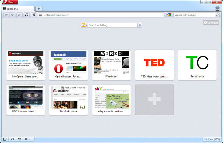 Opera web browser showing Speed Dial feature on new tab page