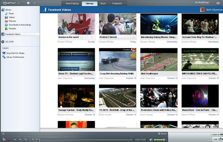 RealPlayer Cloud multimedia player software showing videos shared on Facebook