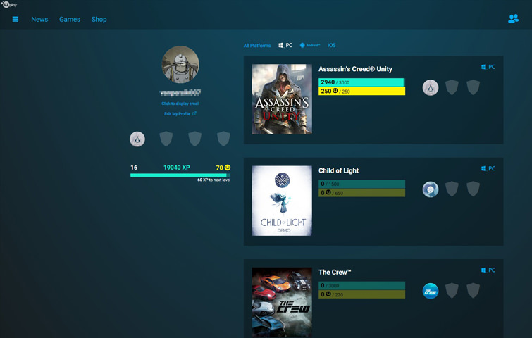 Uplay digital distribution & game management software showing achievement list on profile