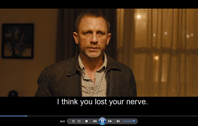 Windows Media Player with movie playback and subtitles