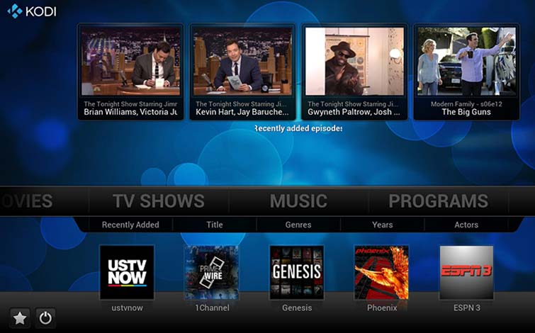 Kodi home theater software tv show selection screen