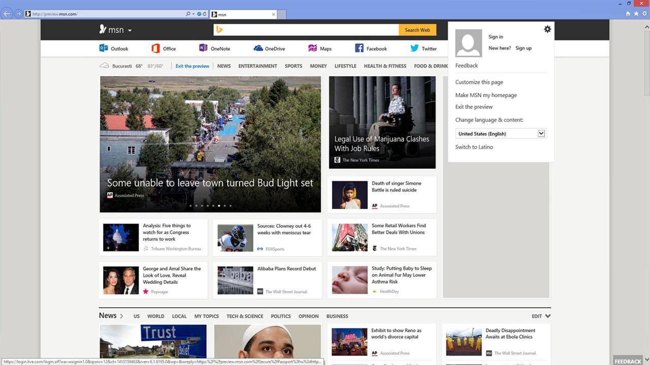 MSN website in Internet Explorer 11