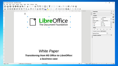 LibreOffice Writer word processing software writing a document