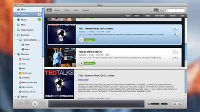 Miro Player with list of TED talk videos available to watch